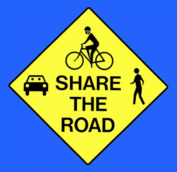 sharing the road Sharing the road with pedestrians when approaching a pedestrian, you must slow down and keep the following distance between your vehicle and the pedestrian: 1 m in zones of 50 km/h or less.